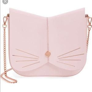 Ted Baker gold and light pink cat crossbody bag